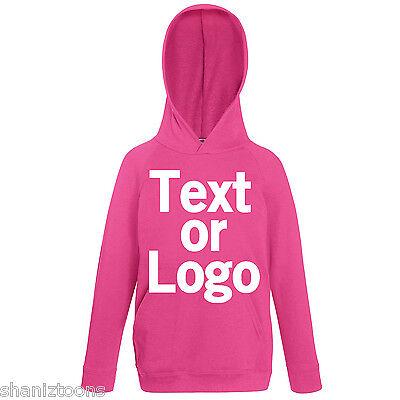 Fuchsia Pink Kids Childrens Lightweight Hoodie Personalised Printing Text Logo