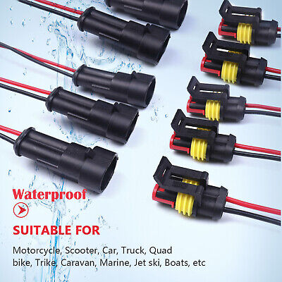 10 Set 2 Pins Car Waterproof Electrical Connector Plug with 20 AWG Wire -