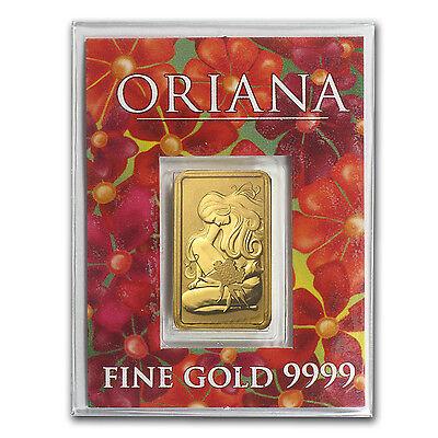 5 gram Perth Mint Gold Bar - Oriana Design - In Assay - SKU #23560