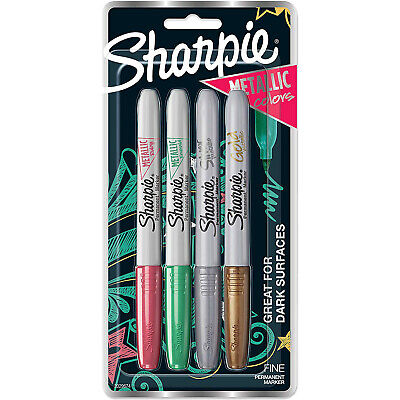 Sharpie Metallic Permanent Markers, Fine Point, Assorted Colors, 4-Count (202967