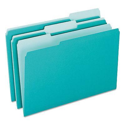 Pendaflex Interior File Folders 1/3 Cut Top Tab Letter Aqua 100/Box 421013AQU