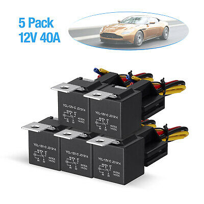 5 Pack Dc 12v Car Spdt Automotive Relay 5 Pin 5 Wires Wharness Socket 3040 Amp