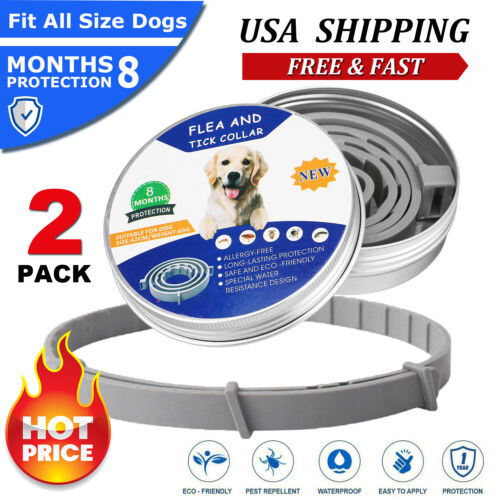 Flea &Tick Collar for Large Dog Over 18 LBS 8 Month Protection Free Ship 2 Pack
