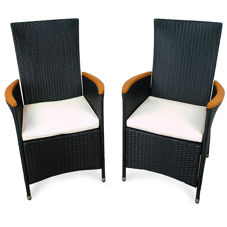 2x Gartenstuhl Hochlehner Gartensessel Gartenmöbel Sessel Stuhl Holz Polyrattan