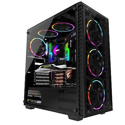 - Tempered Glass ATX Computer Case Mid Tower Gaming PC Desktop Case+6pcs RGB Fans