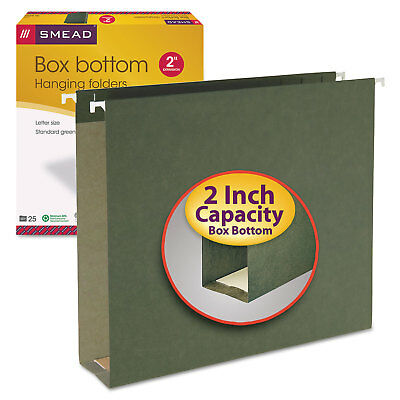 Smead 2 Capacity Box Bottom Hanging File Folders Letter Green 25box 64259