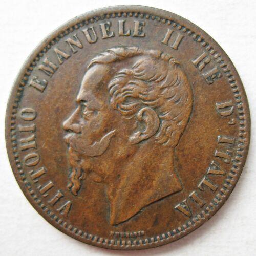 DECENT ITALY 1866-M KING EMANUELE II COPPER TEN CENTESIMI COIN (KM# 11.1)