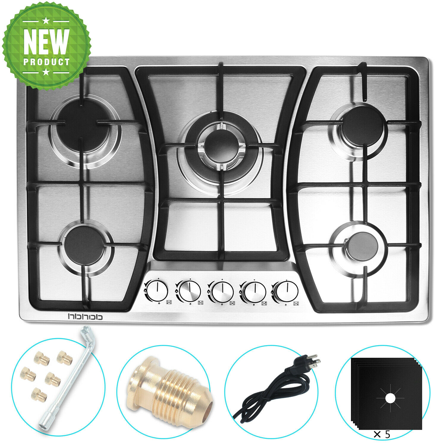 HBHOB 5 Burner 30 inches Gas Cooktop Stainless Steel LPG gas