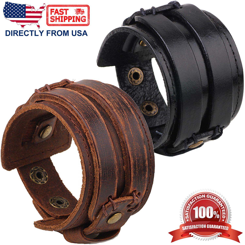 Men's Punk Rock Genuine Leather Wide Cuff Wristband Bracelet Bracelets