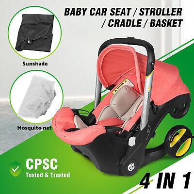 Asientos de coche para bebés Combos de cochecito 4 en 1 para recién nacido, peso ligero p / viaje Rosa