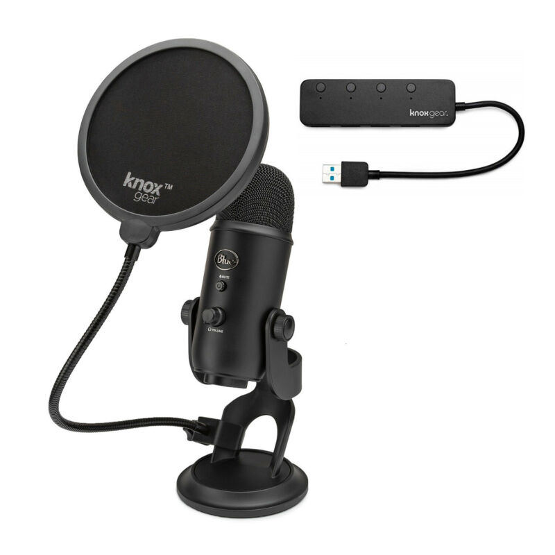 Blue Yeti Microphone Blackout with Knox Gear Pop Filter and 3.0 4 Port USB Hub
