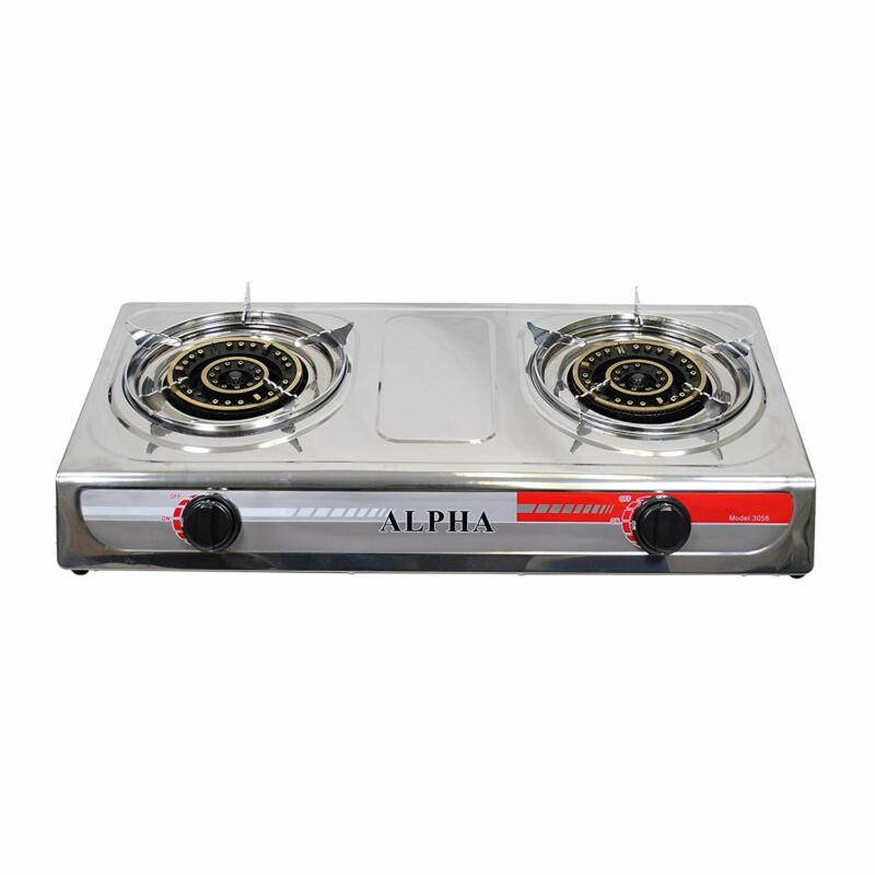 PROPANE STAINLESS 2 DOUBLE HEAD BURNER GAS STOVE  20000 BTU w/ Gas Regulator