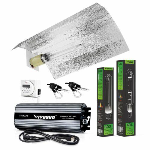 VIVOSUN Hydroponic 600 Watt HPS MH Grow Light Wing Reflector