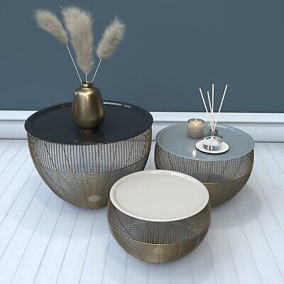 Gold Basket Tables with Grey & White Tops-  Kaisa KAS008