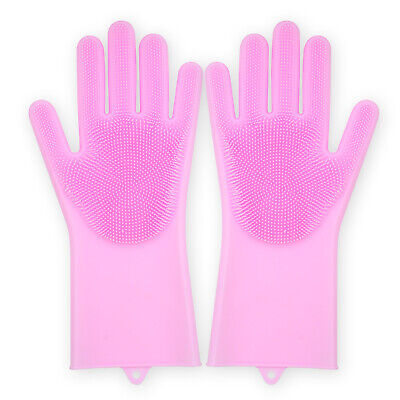Magic Reusable Soft Silicone Dish Washing Cleaning Scrubbing Kitchen Gloves Pink