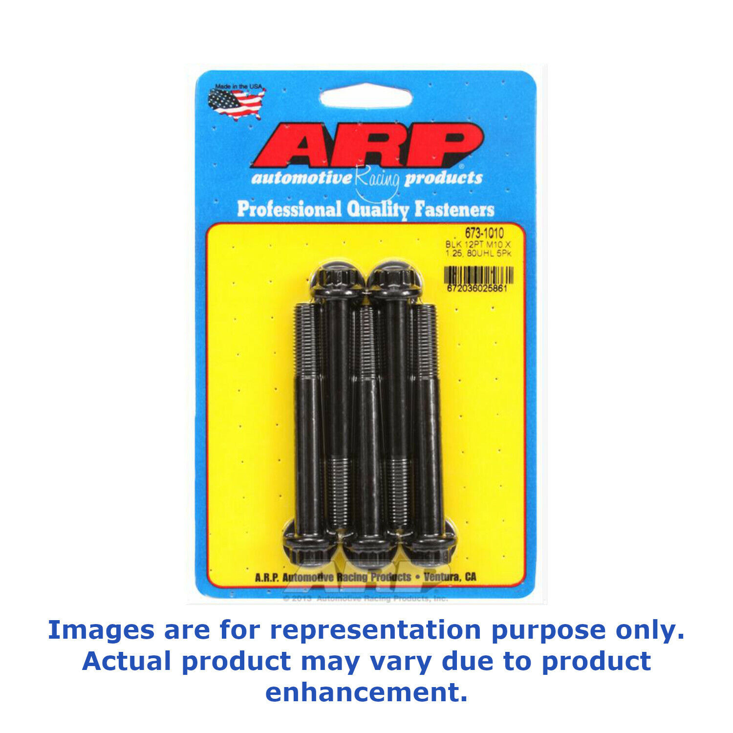 673-1010 ARP Bolt 10mm x 1.25 80mm Long 12mm 12 Point Head Washers Pack 5