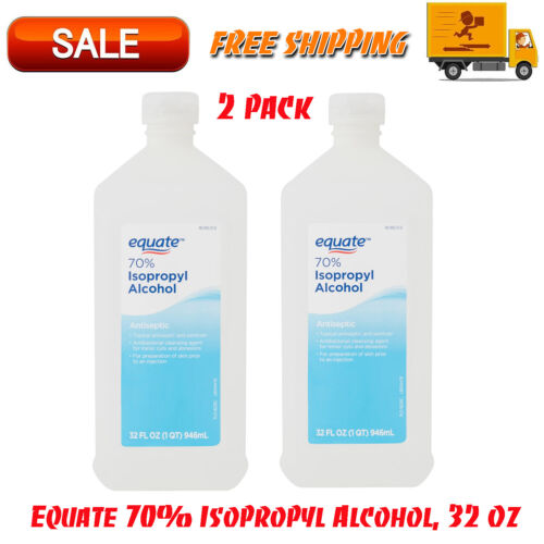 2 Pack Antiseptic EQUATE 70% Isopropyl Rubbing Alcohol Antibacterial, 32 Ounce