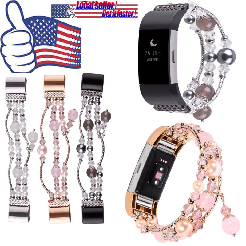 For Fitbit Charge 2 Agate Beads Strap Jewelry Faux Pearl Bling Replacement Band