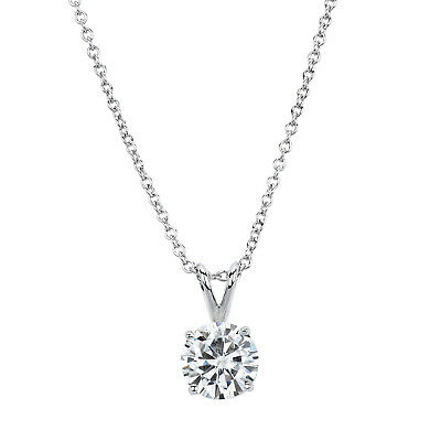 14K White Gold Forever Brilliant 9.0mm Round Moissanite Necklace, 2.70ct DEW 14k Moissanite Necklace