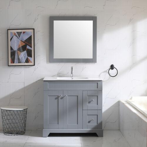 """36"""" Gray Bathroom Vanity Cabinet Undermount Ceramic Sink w/ Mirror & Faucet Set"""