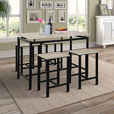 Pub Table Dining Set 5-Piece Counter Height Table Set w/4 Chairs Beige/Espresso 5 Piece Counter Height Table
