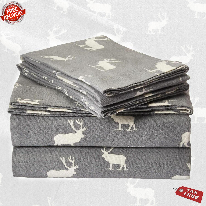Best Christmas Elk Grove Cotton Flannel Bed Sheet Set King S