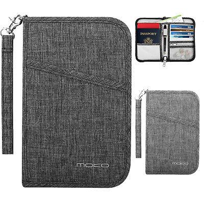 Travel Organizer Travel Wallet - MoKo Travel Wallet Family Passport Holder RFID Blocking Document Organizer Case
