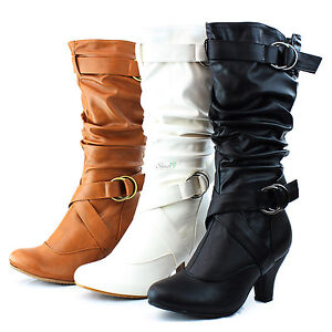 Fashion-Mid-Knee-High-Cowboy-Pump-Kitten-Heel-Ankle-Strap-Casual-Dress-Boot-Shoe