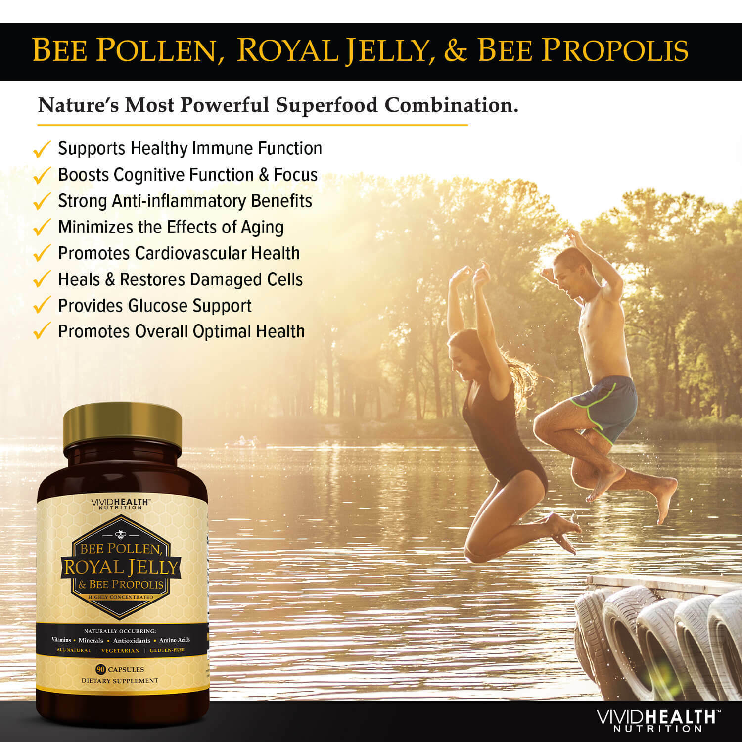 Immune Boosting, Pure ROYAL JELLY BEE POLLEN Supplement w/ BEE PROPOLIS by VHN 1