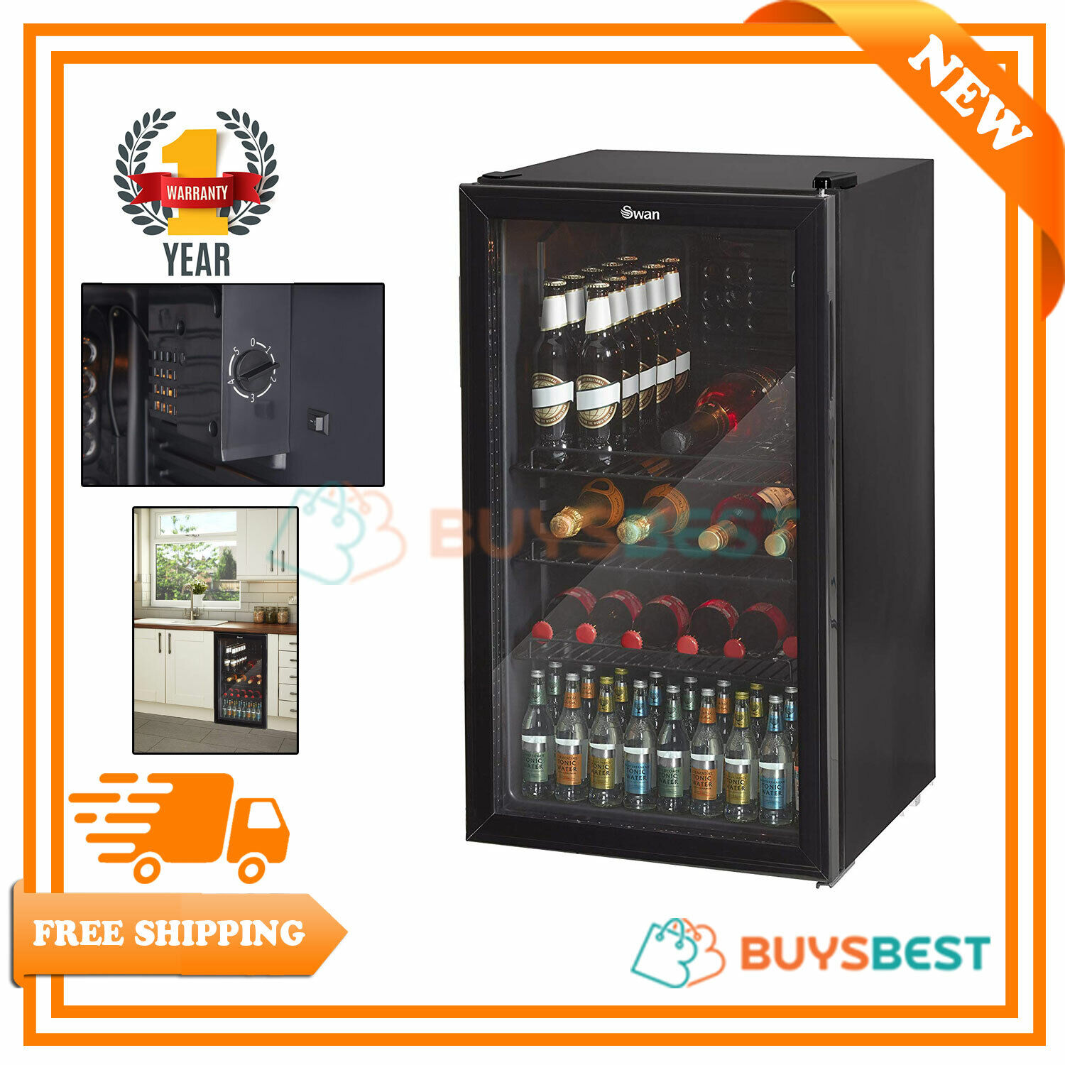 Swan Under Counter Chiller Cooler Fridge Beer Cans Bottles Wine Drinks SR12030BN