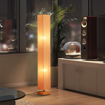 4FT Big Modern Floor Lamp Linen Lightening Shade Living Room Wooden Base Beige