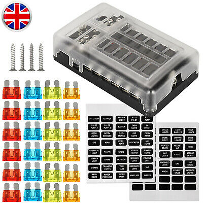 12 Way Blade Fuse Box With LED Indicator Light & Protection Holder For Car Boat