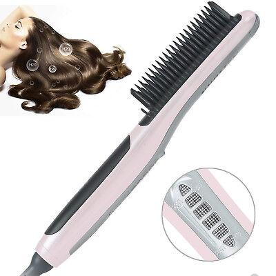 (Hair Straightener Brush Ionic Ceramic PTC Heating Straightening Brush Comb Iron)
