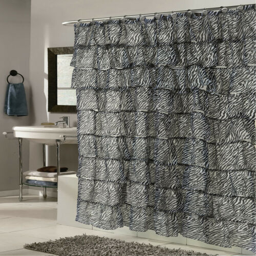 Elegant Zebra Pattern Crushed Voile Ruffled Tier Shower Curtain 70″ x 72″ Bath