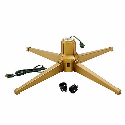 Home Heritage Metal Rotating Christmas Tree Stand for 7 Ft Trees, Gold (Used)