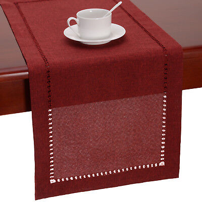 Hemstitched Cranberry Dining Table Runners Dresser Scarf, Solid Color, - Red Table Runner