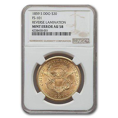 1859-S $20 Liberty Gold Double Eagle AU-58 NGC (Rev Lamination) - SKU #132550