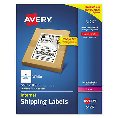 200 Mailing Internet Shipping Labels 5-12 X 8-12 White 200 Count Laser 5126