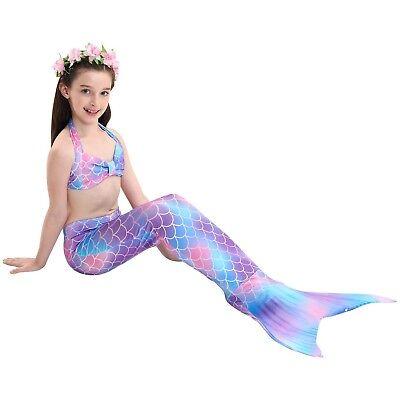 NEU Bunter Meerjungfrauenschwanz mit Monoflosse für Aquarium Cosplay Mermaid DE