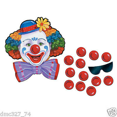 2 CIRCUS CARNIVAL Birthday Party Game PIN THE NOSE ON THE CLOWN for 24 guests - Pin The Nose On The Clown