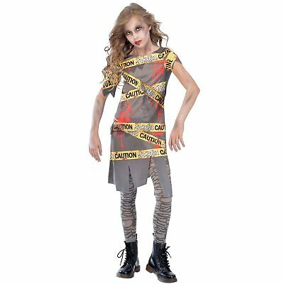 Caution Zombie Girls Fancy Dress Halloween Spooky Scary Teens Childs Kid Costume
