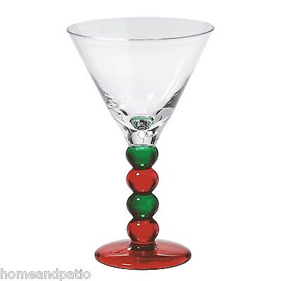 Merritt Holiday Impressions Red/Green Acrylic Pearl Martini Glasses Set of 6  ()
