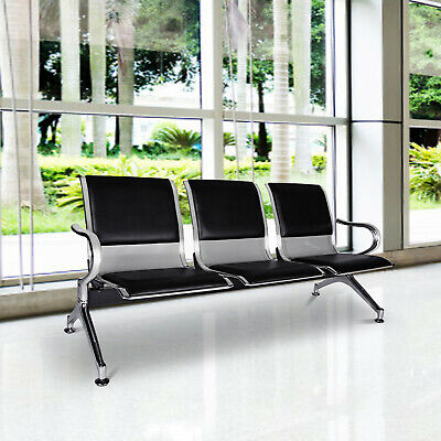 Kinbor 3-seat Heavy Pu Leather Waiting Room Chair Reception Office Airport Bank
