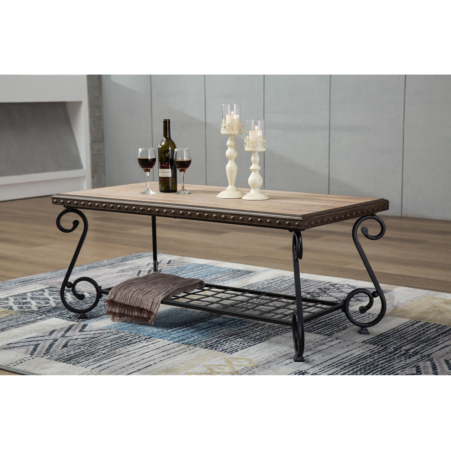 Enjoyable Details About Design Industrial Style Coffee Sofa Table 2 Shelf Tea Side Table Metal Frame Pabps2019 Chair Design Images Pabps2019Com