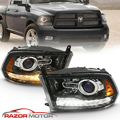 For 2009-2018 Dodge Ram 1500 2500 3500 Black LED DRL Projector Headlights