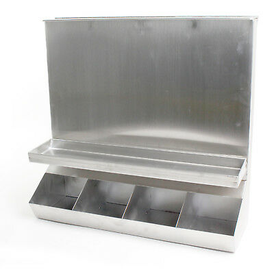 4-compartment Stainless Steel Condiment Dispenser Whinged Lid For Top Loading