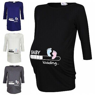 Mama Maternity T-shirt (Happy Mama. Woman's Maternity Baby Loading Feet Funny Print T-shirt Top. 549p)