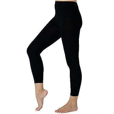 Damen Leggings (GR S -3XL) Leggins schwarz blickdicht Baumwolle / Elasthan 384  ()