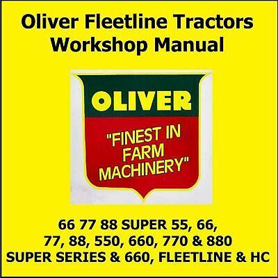 Oliver Super Fleetline 55 66 77 88 550 660 770 880 Tractor Shop Service Manual