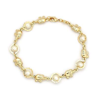 Pearls & Elephant Charm Bracelets Gold Filed Good Luck Yoga Success Protection (Good Fortune Elephant)